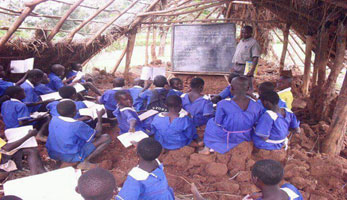Children Attending Class Lessons In Depleted Shade